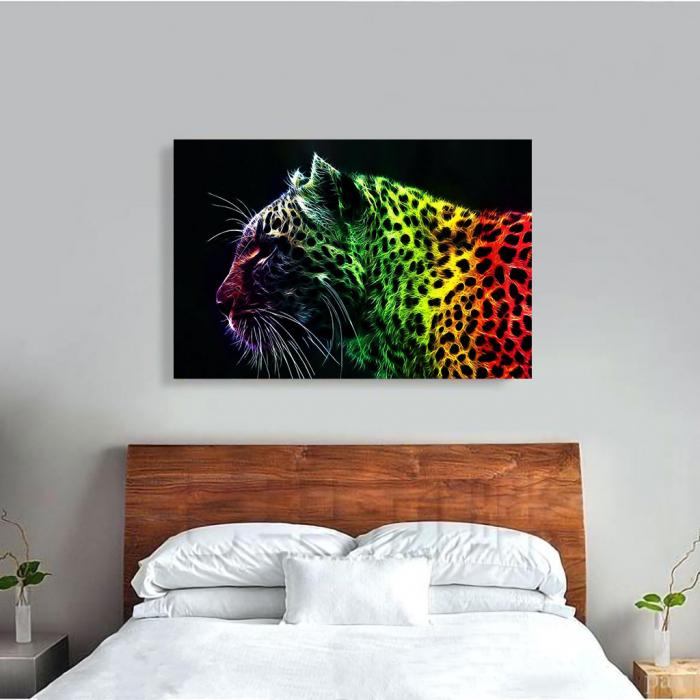 Tablou Canvas - Neon leopard 3