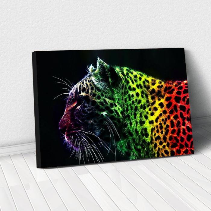 Tablou Canvas - Neon leopard 0