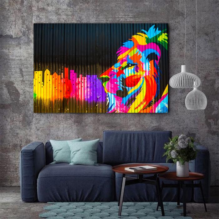 Tablou Canvas - Graffiti lion [2]