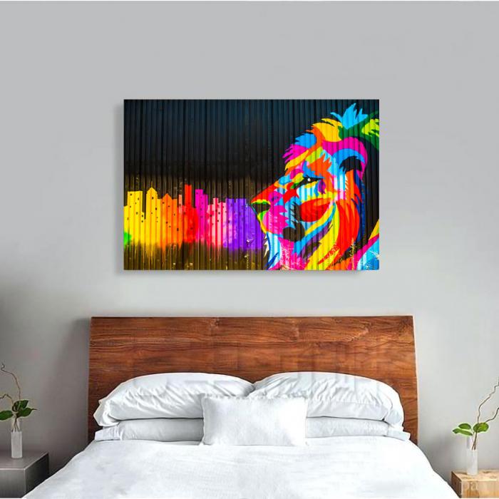 Tablou Canvas - Graffiti lion [3]