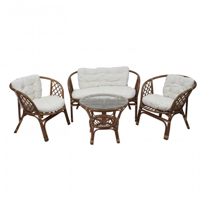 Set masă rotundă  cu 2 scaune + 1 canapea cu perne pentru grădină [0]