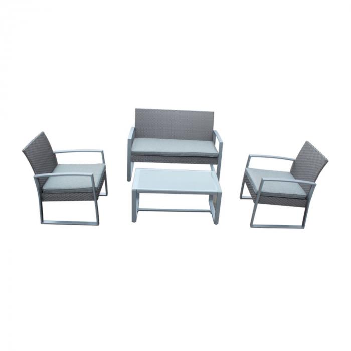 Set masă dreptunghiulară  cu 2 scaune + 1 canapea cu perne de culoare gri 0