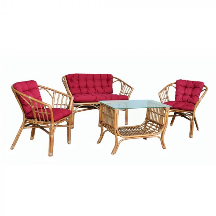 Set masă dreptunghiulară cu 2 scaune + 1 canapea cu perne de culoare roșie. 0