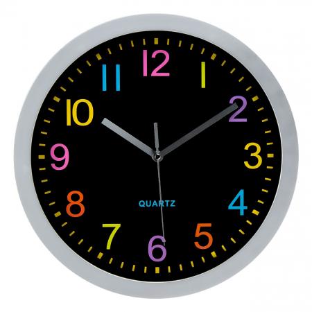 Ceas rotund de perete argintiu - multicolor [0]