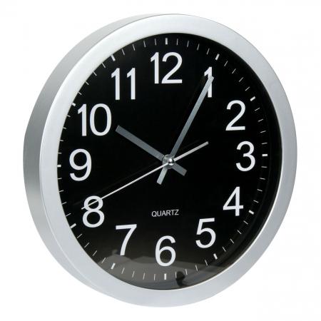 Ceas rotund de perete argintiu cu fundal negru1