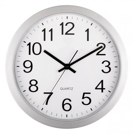 Ceas de perete rotund argintiu cu fundal alb [0]