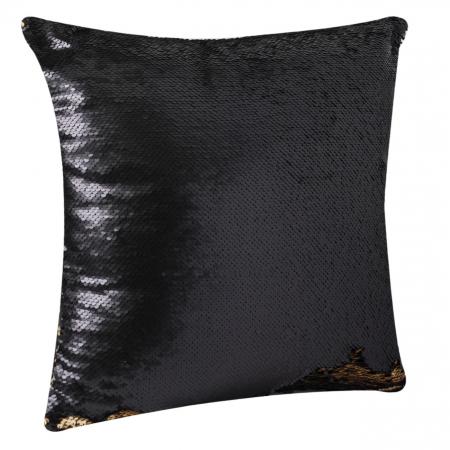 Pernă decorativă cu paiete negre-aurii 43x432