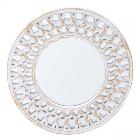 Set oglinzi de perete cu rama Alb-aurie - 3 buc.1