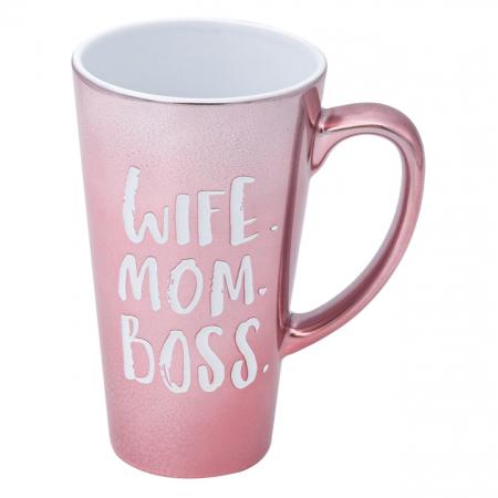 Cană din porțelan roz cu mesaj pentru super mame. 520 ml0