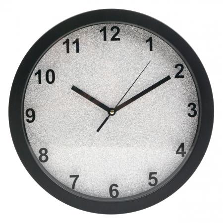 Ceas de perete rotund cu fundal argintiu cu sclipici  30 cm1