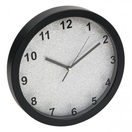 Ceas de perete rotund cu fundal argintiu cu sclipici  30 cm0