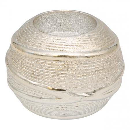 Suport pentru lumânare din ceramică cu striații în relief. [0]