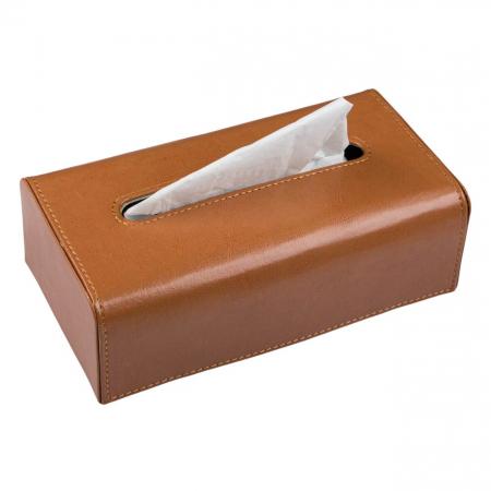 Suport din piele maro  pentru șervețele.26x14x8,5 cm1