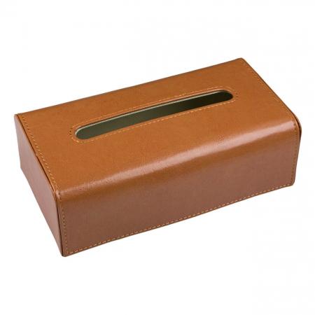 Suport din piele maro  pentru șervețele.26x14x8,5 cm0