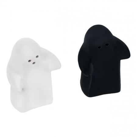 Set solniță sare/piper fantome ceramică. [0]