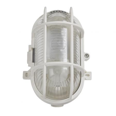 Lampa ovala , tip soclu E27, 11 x 13 cm, material plastic, culoare alb [1]