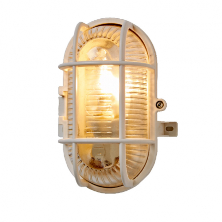 Lampa ovala , tip soclu E27, 11 x 13 cm, material plastic, culoare alb [0]