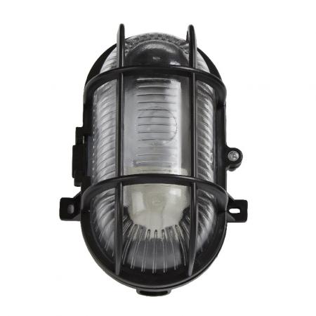 Lampa ovala, tip soclu E27, 11 x 13 cm, material plastic, culoare negru1