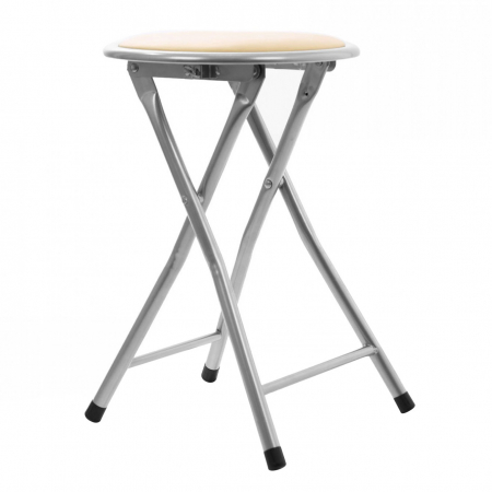 Taburet pliabil tip scaun din PVC crem.1