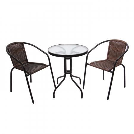 Set masă rotundă, cu 2 scaune pentru grădină0