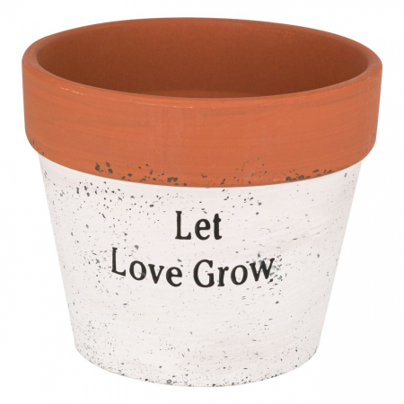 "Ghiveci ceramic alb""Let love grow"",14x12 cm [0]"