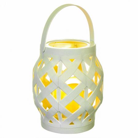 Lampă decorativă din Rattan,alb,cu iluminare LED,10.5x16 cm.1