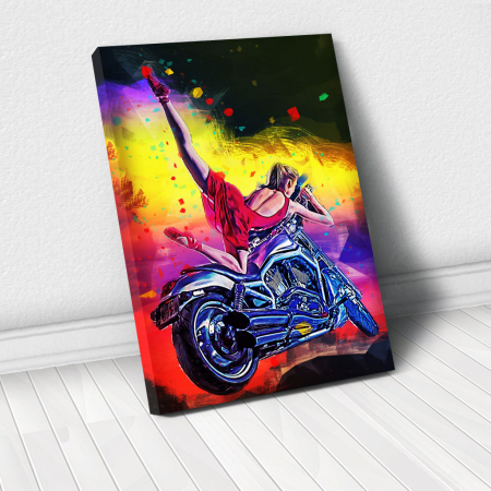Tablou Canvas - Moto girl0