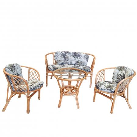 Set masă rotundă  Ranya cu 2 scaune + 1 canapea cu perne0