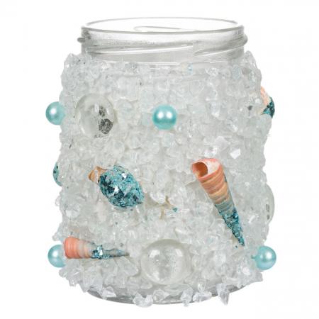 Borcan decorativ cu cristale si perle,turcoaz,8x11 cm [0]