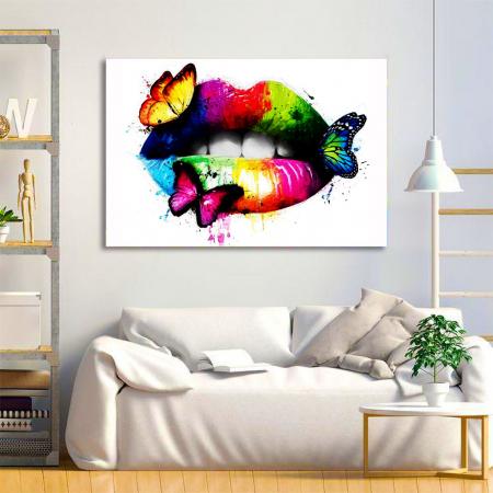 Tablou Canvas - Lips Multicolor1