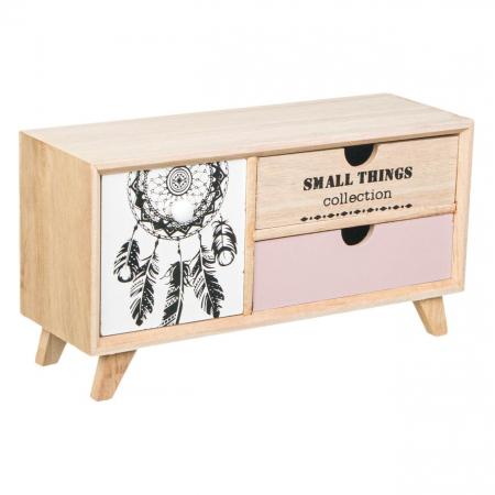 Comodă decorativă din lemn cu 3 sertare [0]