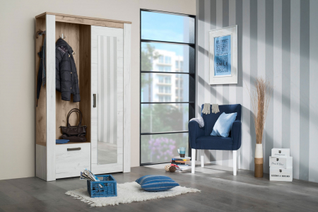 Cuier hol Amara cu 7 agățători, oglindă, dulap, comodă, 2 uși 114x195cm3