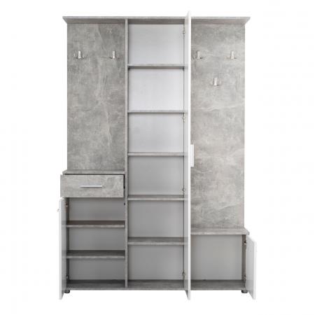 Cuier hol Calista cu 10 agățători, oglindă, dulap și comodă, beton + alb cu 3 uși ,134x200cm1