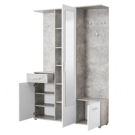 Cuier hol Calista cu 10 agățători, oglindă, dulap și comodă, beton + alb cu 3 uși ,134x200cm2