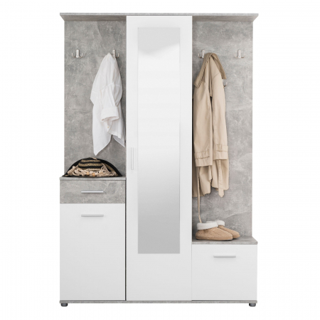 Cuier hol Calista cu 10 agățători, oglindă, dulap și comodă, beton + alb cu 3 uși ,134x200cm3