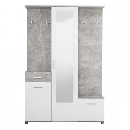 Cuier hol Calista cu 10 agățători, oglindă, dulap și comodă, beton + alb cu 3 uși ,134x200cm0