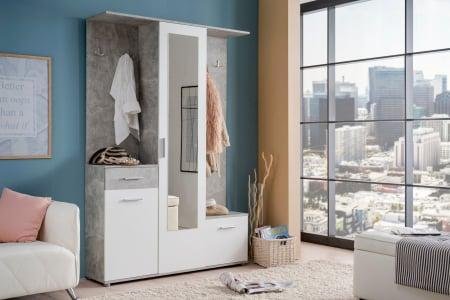 Cuier hol Calista cu 10 agățători, oglindă, dulap și comodă, beton + alb cu 3 uși ,134x200cm4