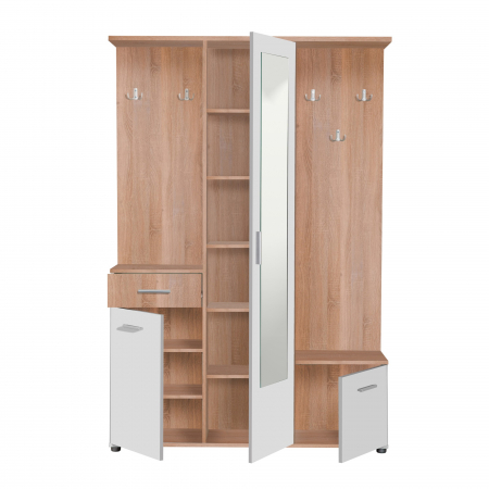 Cuier hol Calista cu 10 agățători, oglindă, dulap și comodă, stejar sonoma + alb cu 3 uși ,134x200cm [1]