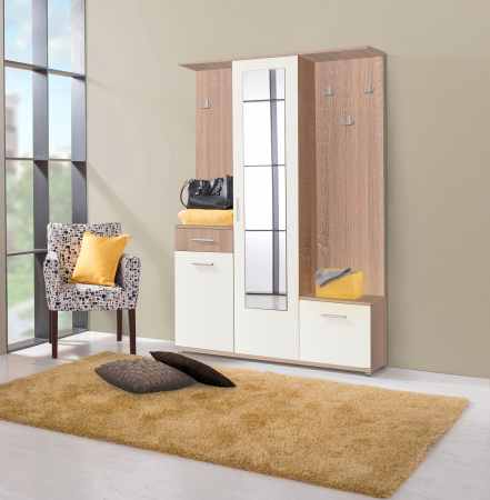 Cuier hol Calista cu 10 agățători, oglindă, dulap și comodă, stejar sonoma + alb cu 3 uși ,134x200cm [2]