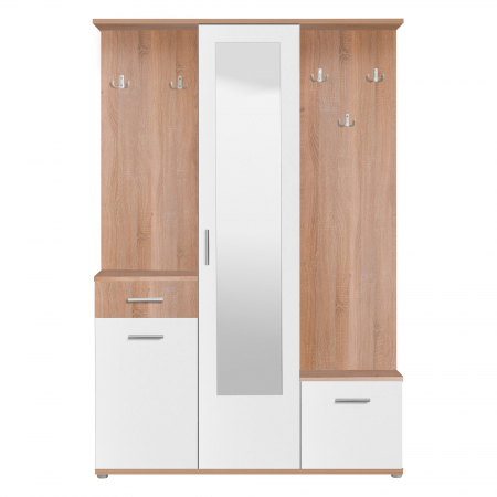 Cuier hol Calista cu 10 agățători, oglindă, dulap și comodă, stejar sonoma + alb cu 3 uși ,134x200cm [0]