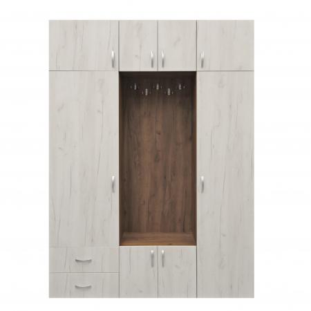 Cuier hol Cora cu 11 agățători, dulap și sertare, 8 uși 160x220cm0