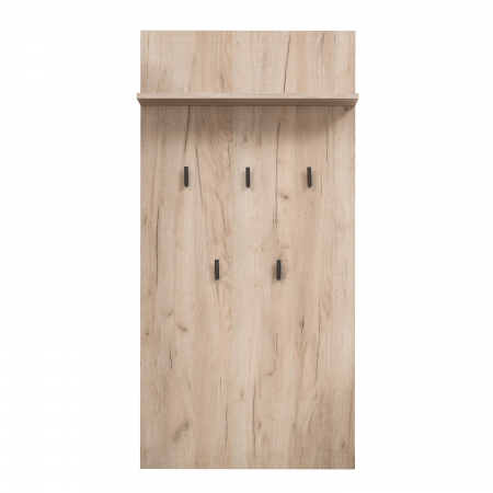 Cuier hol Maya pentru perete cu 5 agățători, stejar gri, 67x137cm0