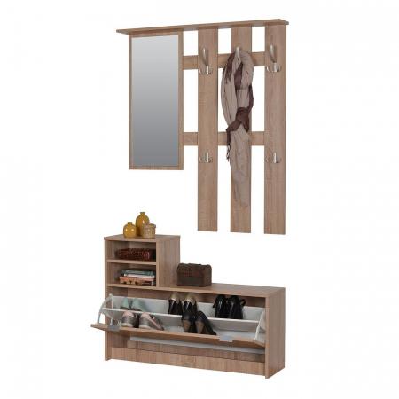 Cuier hol Raven cu 15 agățători. oglindă și pantofar, stejar sonoma 100x192cm [1]