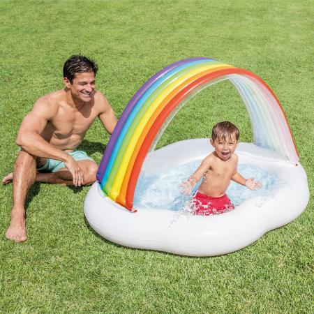 Piscină gonflabilă Curcubeu, pentru copii, 102 x 89 cm2