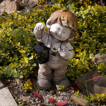 Decorațiune grădină, ceramică, băiat cu felinar3