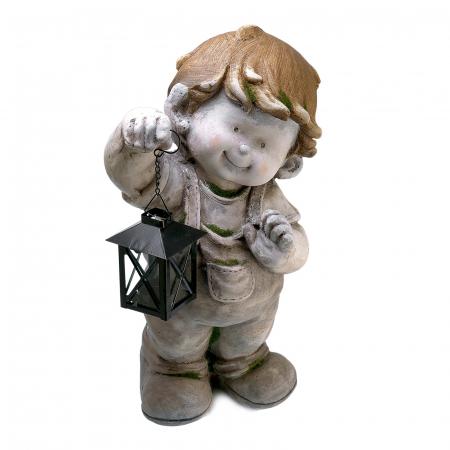 Decorațiune grădină, ceramică, băiat cu felinar0