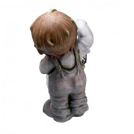 Decorațiune grădină, ceramică, băiat cu felinar1