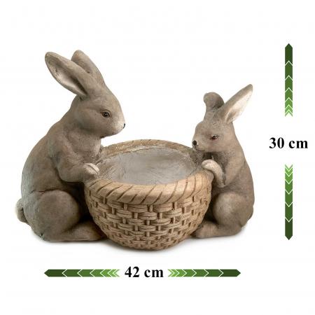 Ghiveci decorativ, ceramică, iepurași, 42 x 21 x 30 cm0
