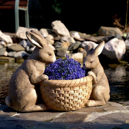 Ghiveci decorativ, ceramică, iepurași, 42 x 21 x 30 cm2