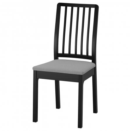 Scaun negru lemn masiv de fag,tapițat.1